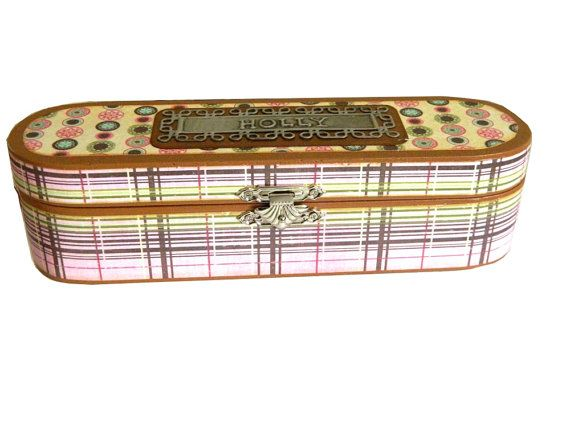Wood pencil box personalised decoupage stripes and by Loutul