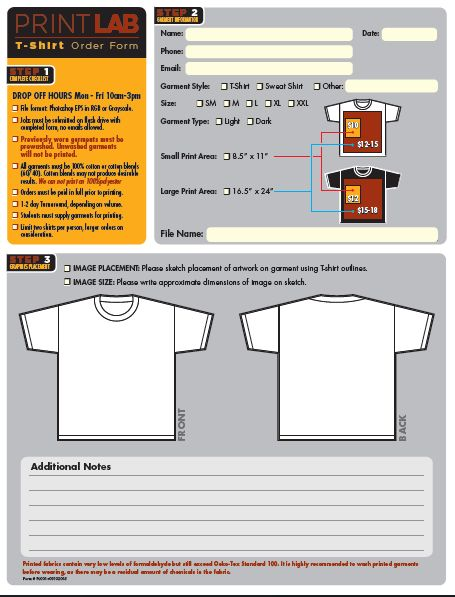 T-Shirt Printing Order Form Template 2