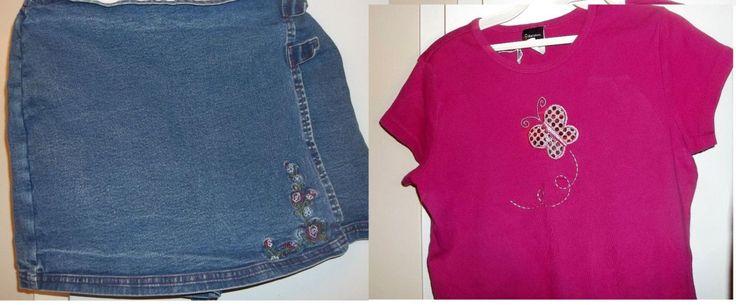 Skort, Sz 16 Blue & Knit Top Sz 14/16 Pink, Cotton, Set-In Waist, Velcro Fasteners by JoycesVintageOldies on Etsy