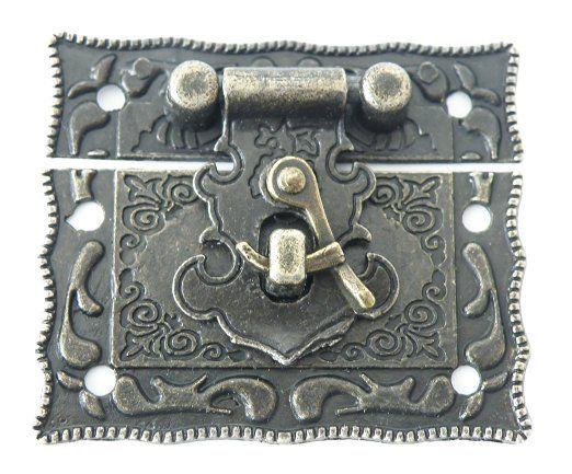 Schloss für Schatullen und mehr, Maße: 55 x 47mm, antikmessing