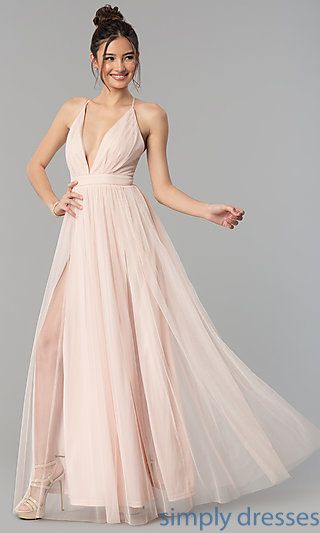 019f0e37565 Shop long tulle prom dresses with low v-necks at Simply Dresses. Formal  a-line evening dresses under  150 with adjustable straps and double slits.