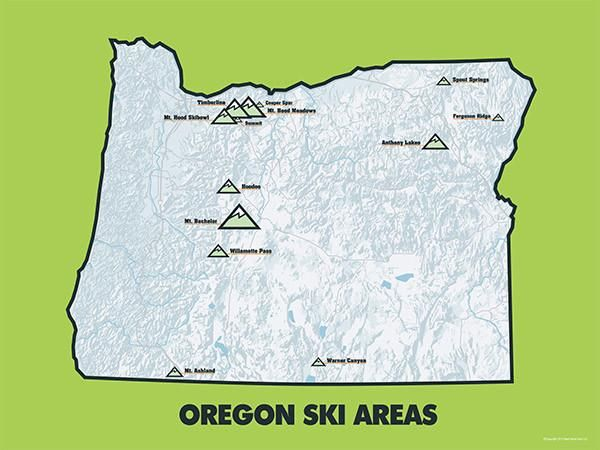 Oregon Ski Resorts Map 11x14 Print | Products | Pinterest | Skiing