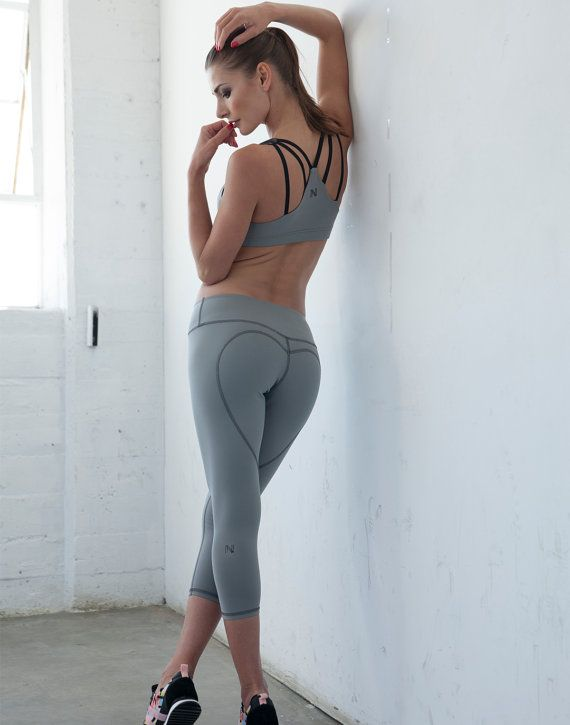 Grey Yoga Capris - Heart Butt Capris - Compression Tights - Heart Leggings - High Waisted ...