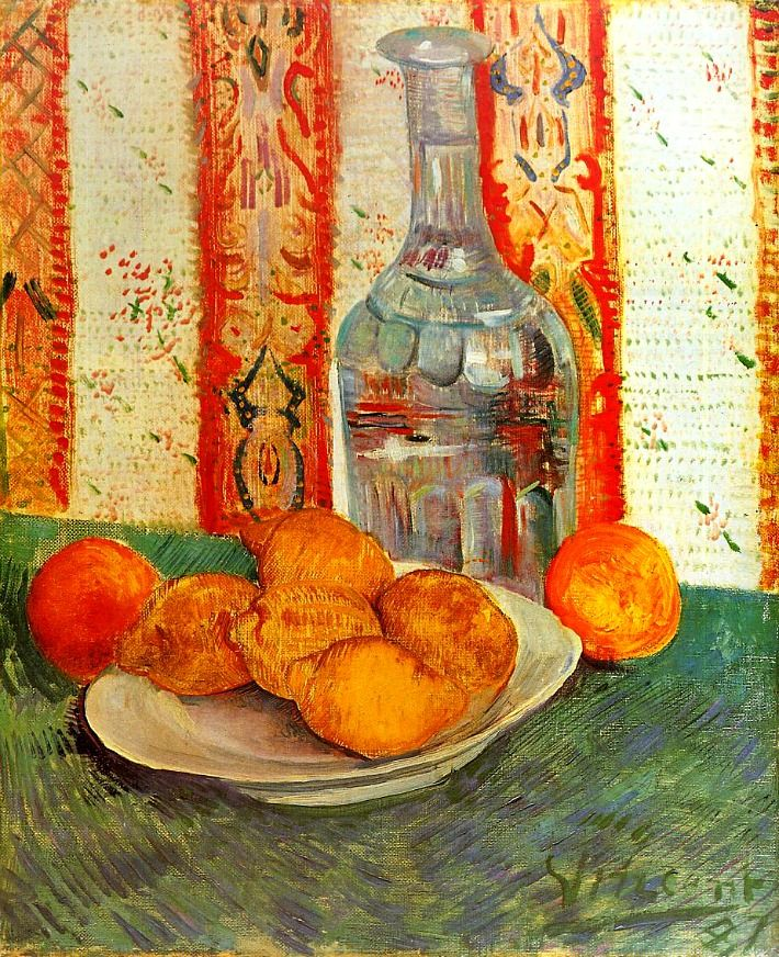 Vincent Van Gogh. Still Life with Decanter and Lemons on a Plate (1887).