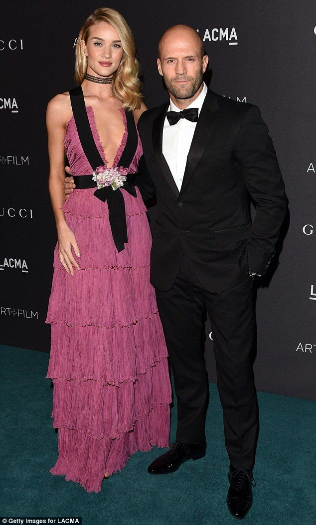 Cute couple: The Transformers actress was joined by action star boyfriend Jason Statham...