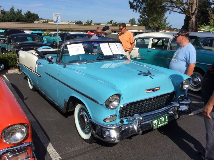 At the Tri 5 Chevy show in Issaquah Washington. At the XXX Root Beer Drive In. August 20th 2017. 1955 Chevy Chevrolet Convertible