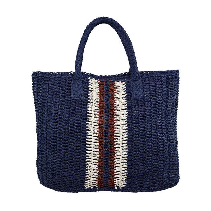 Navy crocheted paper straw handbag
