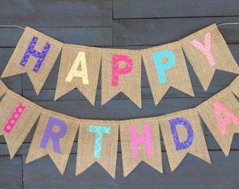 Banner de feliz cumpleaños arco iris Pastel arpillera con by MsRogersNeighborhood | Etsy
