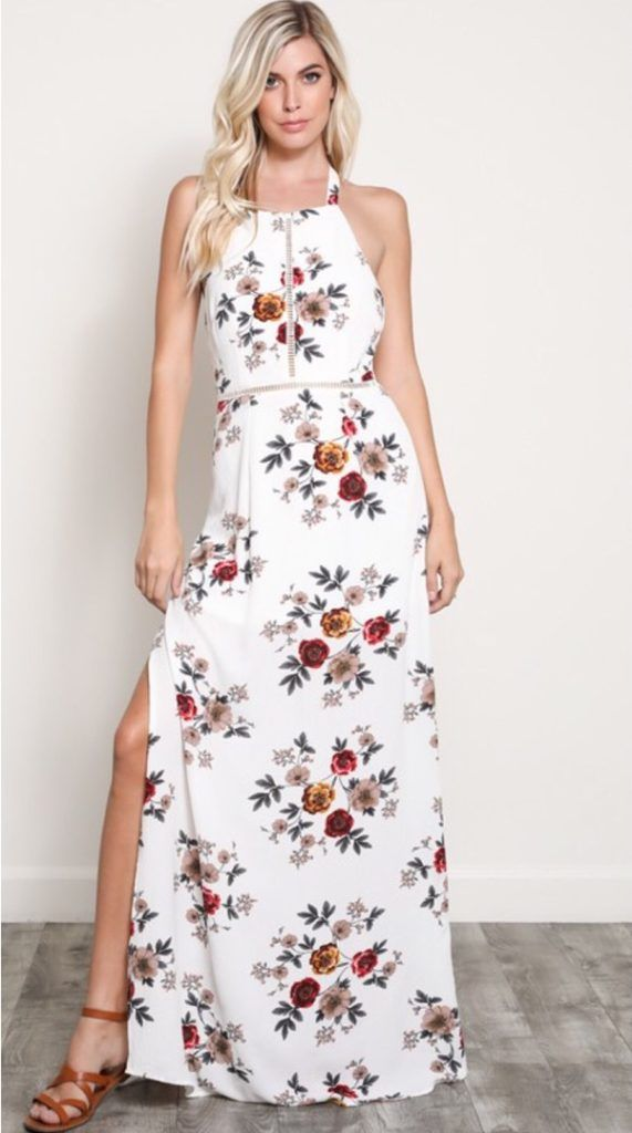 54bd13f0cd7 Rocking  floral print maxi dress with side slit  maxidress  summerdresses   summerstyle