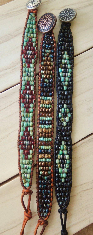 RUSTIC UNISEX Beaded Leather Bracelet Aged by BraceletsofBlueRidge