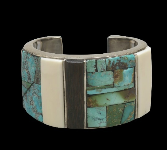 Cuff | Charles Loloma. Sterling silver, inlaid turquoise, ivory, ebony, coral.  c. 1968