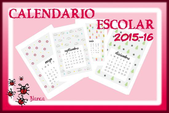 Actividades para Educación Infantil: Calendario escolar 15-16 para imprimir modelo 3
