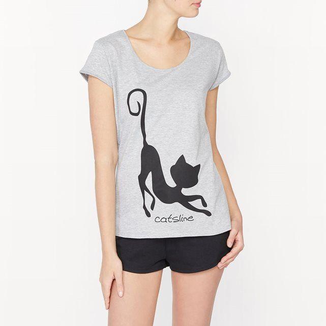 """Pyjashort Catsline CATSLINE : prix, avis & notation, livraison.  Le pyjashort Catsline. T-shirt manches courtes. Encolure arrondie. Impression placée """"Caliméro"""" sur le devant. Short taille élastiquée avec lien de serrage coulissant à nouer. Petites fentes base côtés.Composition & détailsMatières : 93% coton, 7% polyesterMarque : CatslineEntretienLavage en machine à 30&#1..."""