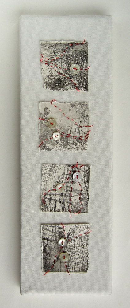Helen Smith-Fragments of torn collagraph prints stitched with red thread and vintage shirt buttons.