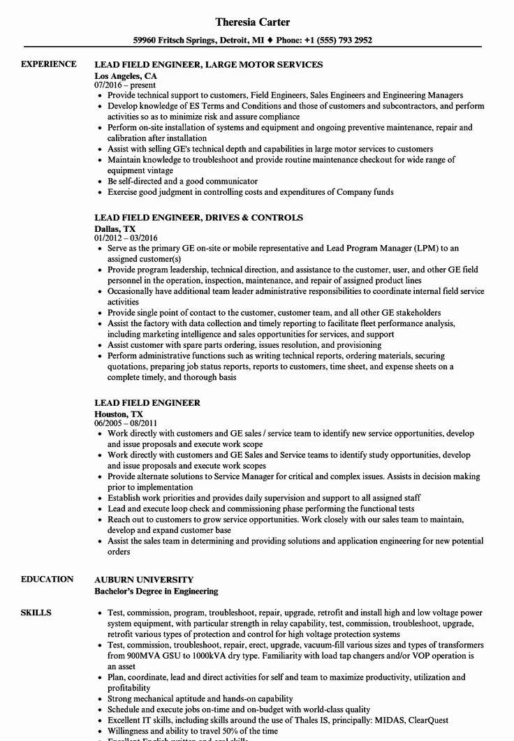 Field service engineer resume best of lead field engineer