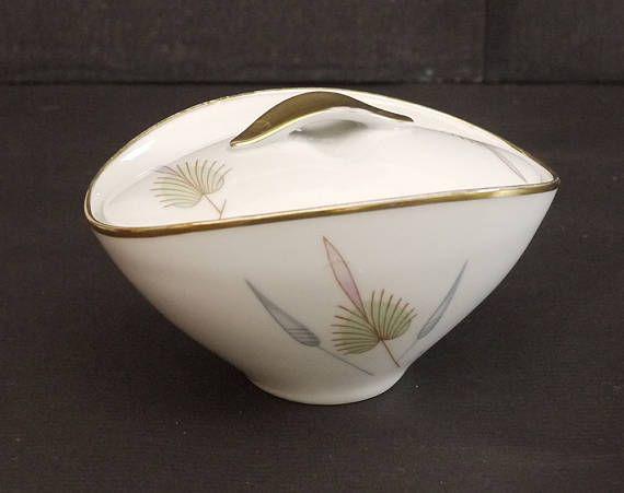 Vintage Sugar Bowl with Lid White Porcelain Gold Gilded Fern