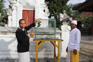 Dr Bayu Wirayudha & a local priest releasing two Mitchell's Lorikeets from Ped Temple, into FNPF's Bali bird sanctuary on Nusa Penida, in 2010.