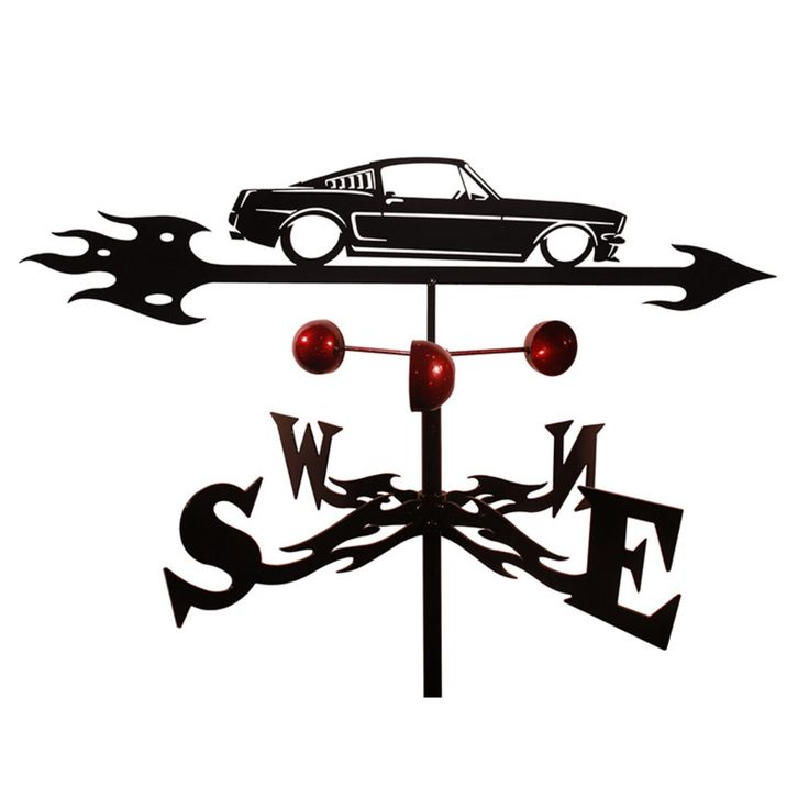 SWEN Products Hand Made Ford Mustang Auto Car Weathervane - 9009-ROOF