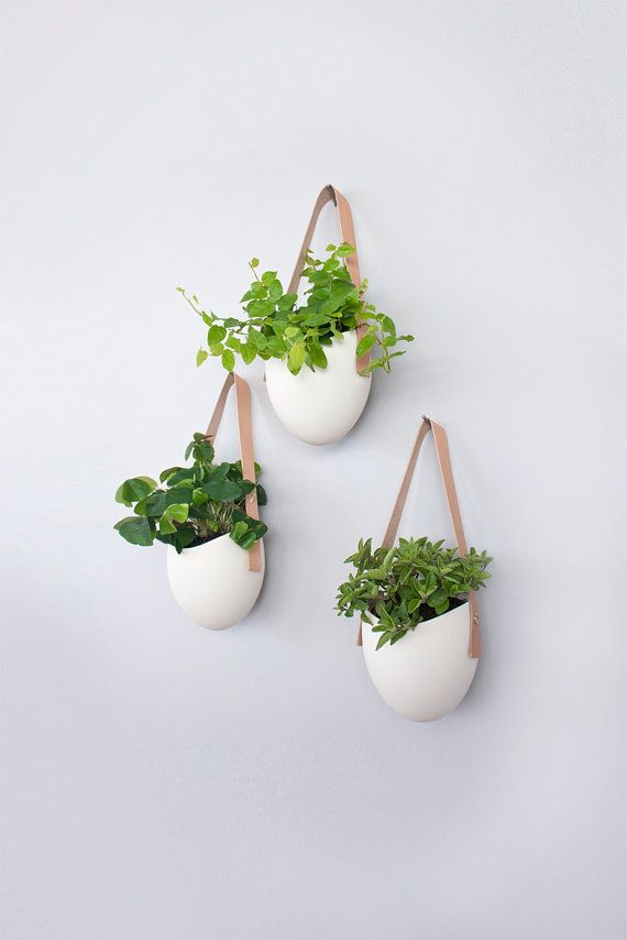 Set of 3 porcelain  leather hanging planters by lightandladder