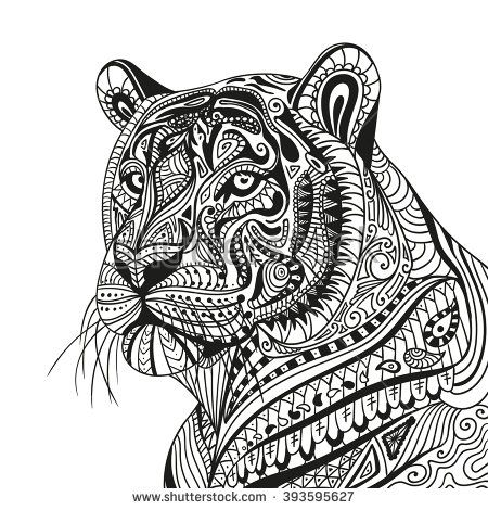 Vector Illustration of an Abstract Ornamental Tiger - stock vector