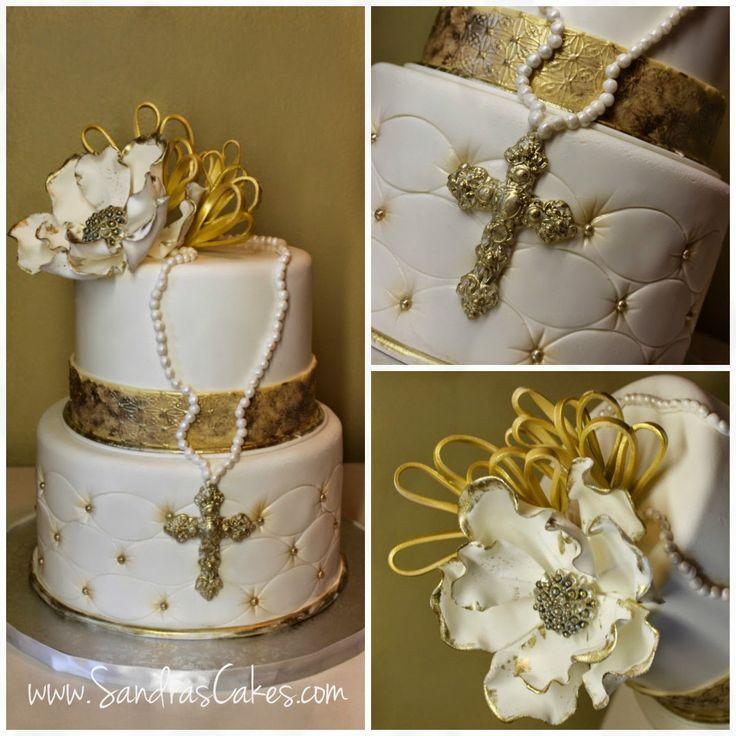 Sandra's Cakes: Elegant Gold First Communion Cake and Dessert Table