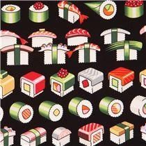 Schwarzer Alexander Henry Stoff buntes Sushi Essen Please Enjoy