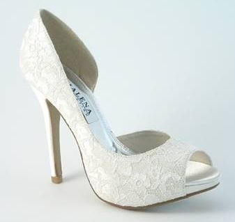 bridal shoes | ... Wedding Shoes on Ladies Ivory Lace High Heel Wedding Bridesmaid Shoes