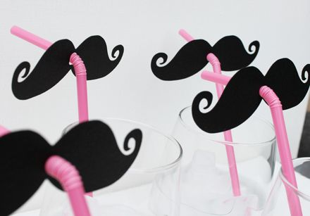 Mustache and Pink Straw Photo Props.