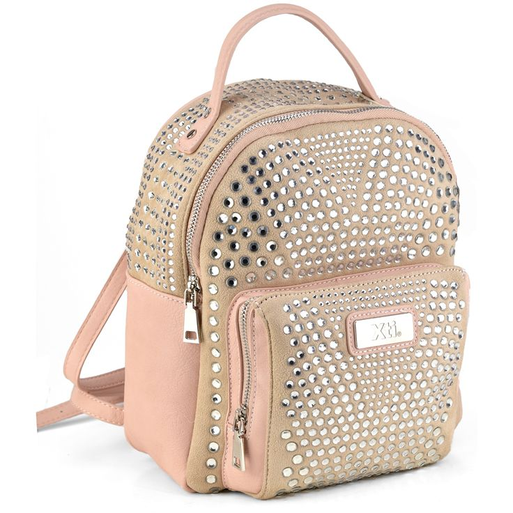 Nude backpack with strass | IzyShoes