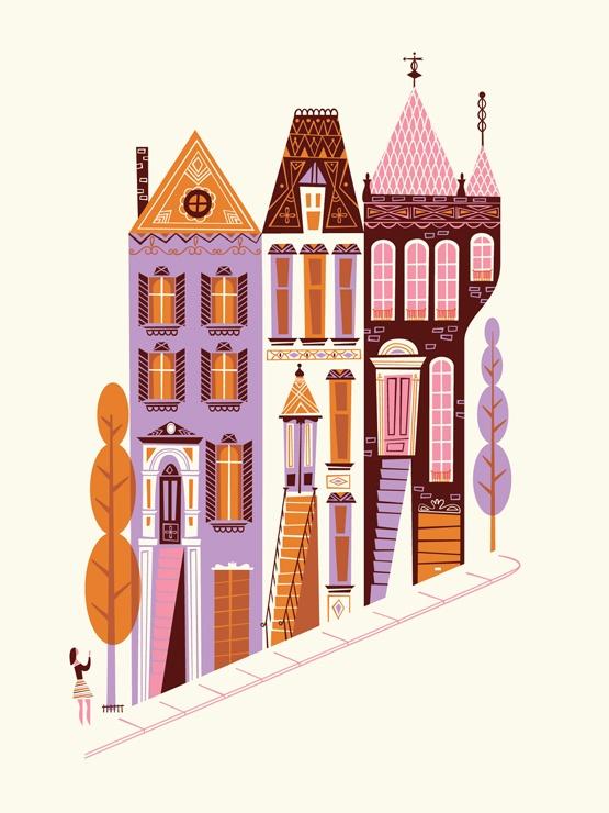 Bright StreetFab Com, Colors, Illustration, Labs Partner, Francisco Victorian, Prints, San Francisco, Design, Victorian 9X12