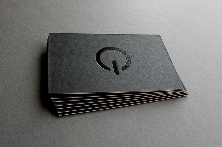 Quiet Studio business cards printed by the good people at Glasgow Press. The cards are letterpress printed on GF Smith Colorplan duplex – two sheets of 270gsm pressed together to make a solid 540gsm. On the 'Ebony' side, the logo is applied in a glossy black foil and the 'Pristine White' reverse has the contact info printed in a silver foil.