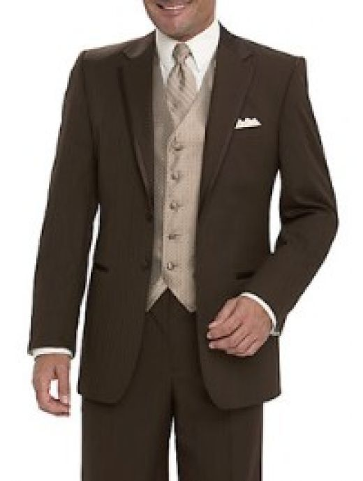 Fall Wedding brown tuxedo? So if i have my man wearing a black tux would it not clash with the wedding colors? i'm just not sure
