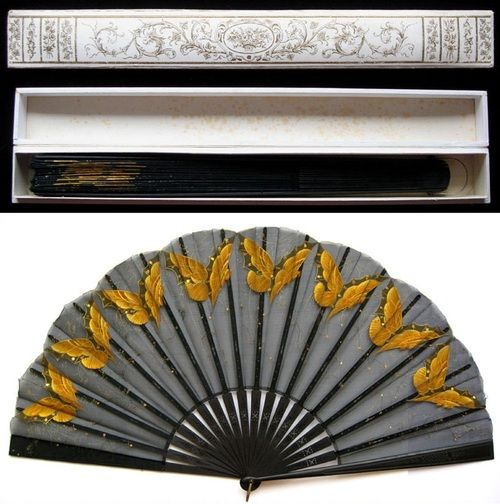 French painted black silk fan with golden butterflies, c. 1890.