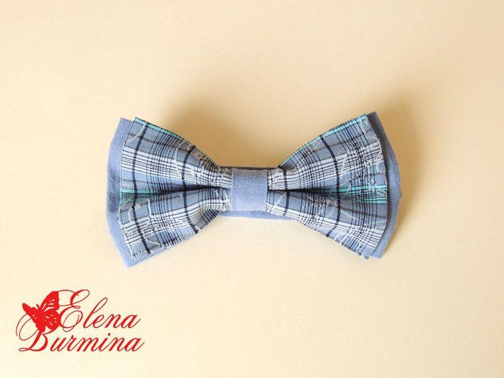 Купить Бабочка галстук синяя в клетку, хлопок - синий, в клеточку, грязно-синий, бабочка