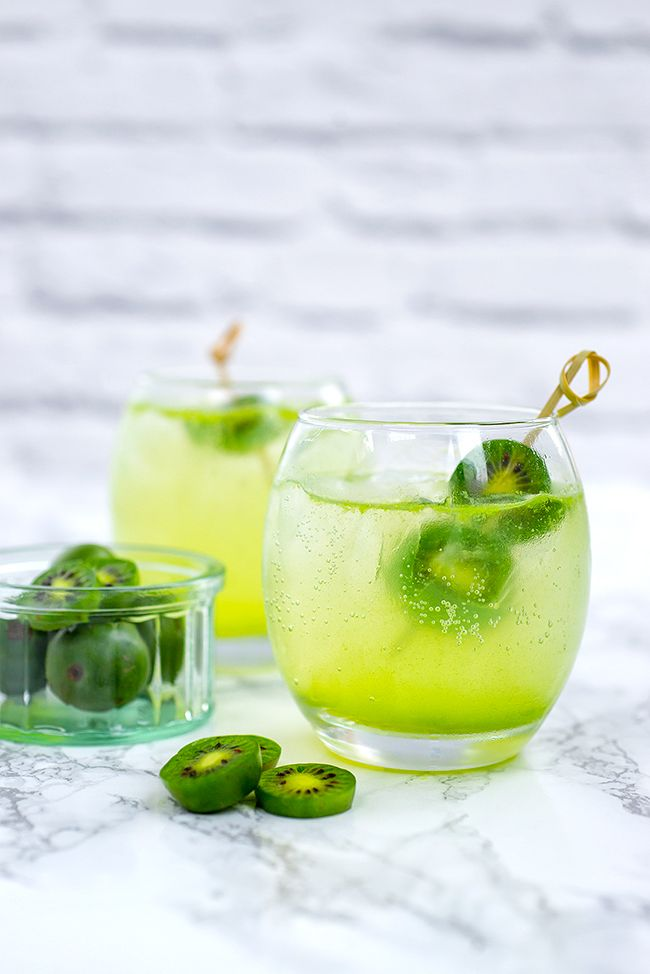 Kiwi Berry Gin Collins Cocktail - discover NERGI® fruit berries   supergolden bakes