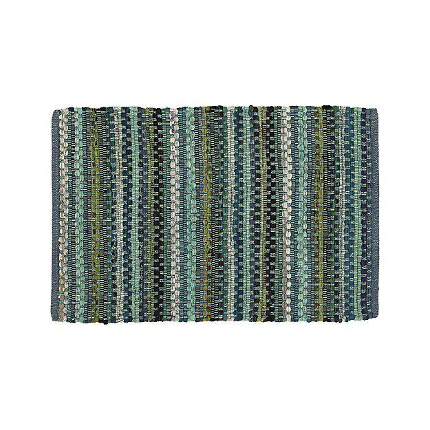 Pinstripe Jade Green Cotton 2'x3' Rag Rug   Crate and Barrel