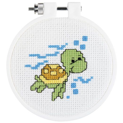 """Turtle Mini Counted Cross Stitch Kit-3"""" Round 14 Count"""