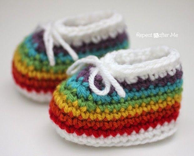 Free Crochet Pattern | Rainbow Booties