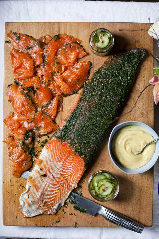 Ballyvolane gravadlax with cucumber pickle and dill mustard mayonnaise