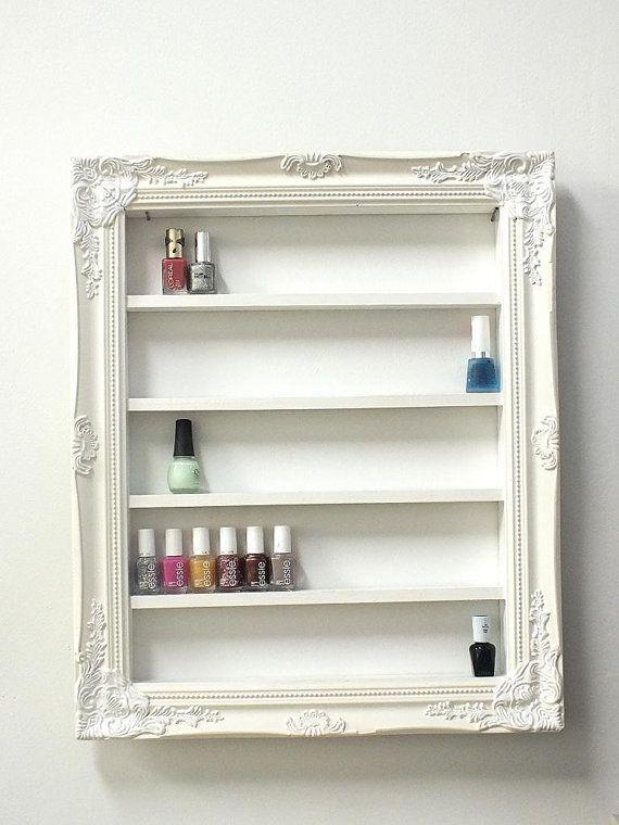 White, ornate, framed nail polish rack