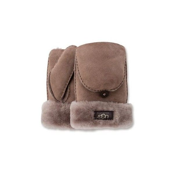 Ugg Classic Flip Mitten (3,175 MXN) ❤ liked on Polyvore featuring accessories, gloves, stormy grey, convertible gloves, convertible mittens, sheepskin gloves, sheepskin mittens and grey gloves