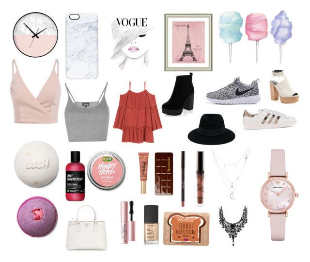 """""""Current favourites"""" by roroc ❤ liked on Polyvore featuring Casetify, Vintage Print Gallery, Topshop, New Look, adidas Originals, Rebecca Minkoff, Too Faced Cosmetics, NARS Cosmetics, Prada and Maison Michel"""