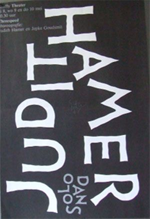 Titel: Dans Poster - Judit Hamer -Solodans - 1981. Design: Gielijn Escher . Afmetingen: 41,5 x 60, 5 cm hg