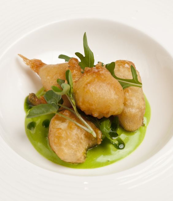 Monkfish is great for goujons, or 'scampi' in this case, because of its firm, meaty texture. In this beer battered monkfish recipe, Pete Biggs uses Meantime lager for the batter, the bubbles creating a wonderfully crisp texture, and serves up the scampi with a heavenly wild garlic mayonnaise.