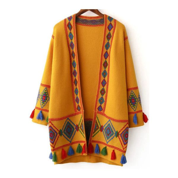 SheIn(sheinside) Ginger Tribal Pattern Fringe Detail Cardigan ($50) ❤ liked on Polyvore featuring tops, cardigans, yellow, tribal cardigans, embellished cardigan, vintage cardigans, long yellow cardigan and long cardigan