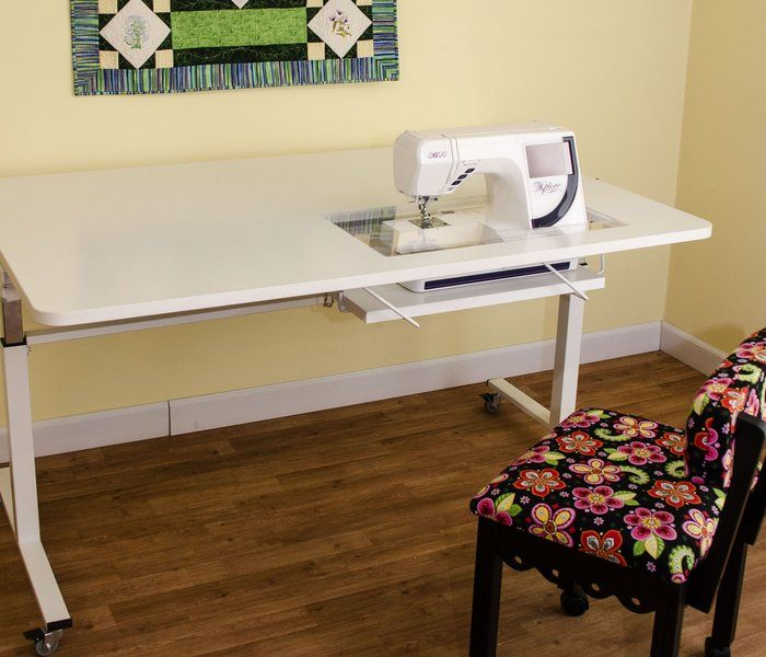 Kangaroo Tasmanian Height Adjule Sewing Machine Craft Cutting Table White Includes A Free Chair