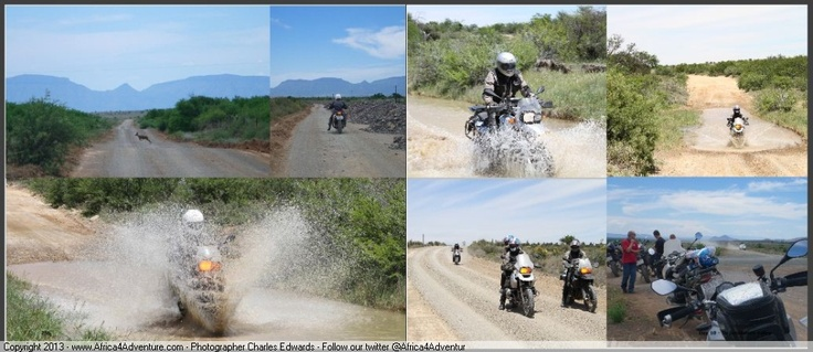Some fun spashing at speed through river crossings in the Karoo on #Adventure #Motorcycles