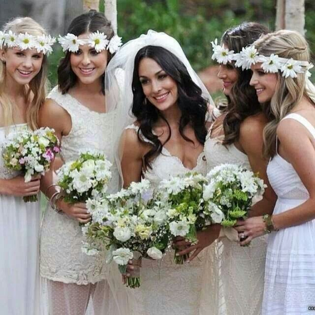 Brie Bella's Wedding | I love the flower head bands. :)