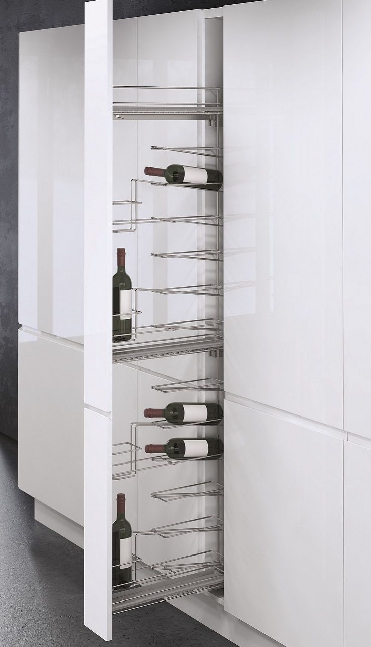 This Vauth Sagel Tall Wine Pull Out provides convenient storage for up to 16 bottles of wine in cabinets just 150mm wide. Full extension pull out allows ready access to contents so you can find that special bottle easily. Soft close function on Austrian made ball bearing runners for easy use and low noise. 3D front adjustment for a perfect fit in your cabinet. Minimum height for installation 1750mm Minimum front to back depth for installation 500mm