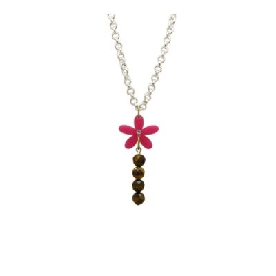 Wild Flower Daisy Necklace Gemstone & crystal centred bright hot pink Daisy long chain necklace
